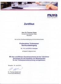 muva-Zertifikat Trinkwasser-Probennahme